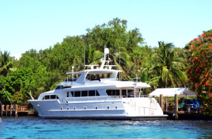 Luxury yacht in the waterways of Fort Lauderdale, Florida